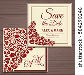 wedding invitation card suite... | Shutterstock .eps vector #584290246