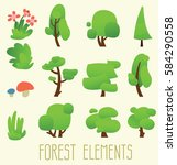 cartoon trees isolated on a...   Shutterstock .eps vector #584290558