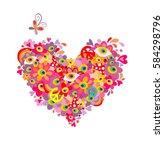 psychedelic hippie heart shape... | Shutterstock .eps vector #584298796