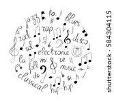 hand drawn set of  music... | Shutterstock .eps vector #584304115