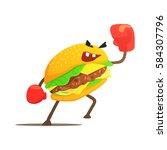 burger sandwich box fighter in... | Shutterstock .eps vector #584307796
