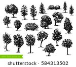 vector hand drawn set of trees... | Shutterstock .eps vector #584313502