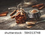 ground cinnamon  cinnamon... | Shutterstock . vector #584313748
