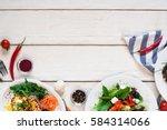salad table kitchen vegetable... | Shutterstock . vector #584314066