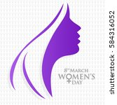 happy women's day women face... | Shutterstock .eps vector #584316052