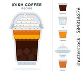 irish ice coffee recipe in... | Shutterstock .eps vector #584316376
