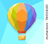 colored hot air balloon on a... | Shutterstock .eps vector #584318182