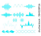 sound waves set. audio... | Shutterstock .eps vector #584328916