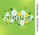 floral spring graphic design... | Shutterstock .eps vector #584336026