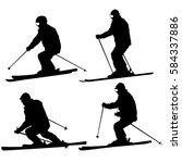 set mountain skier speeding... | Shutterstock . vector #584337886