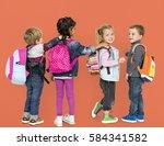 little children carrying... | Shutterstock . vector #584341582