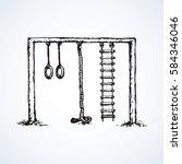 old kid rung and hawser bar set ... | Shutterstock .eps vector #584346046