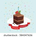 happy birthday brownies | Shutterstock .eps vector #584347636