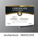 certificate template a4 size... | Shutterstock .eps vector #584351545
