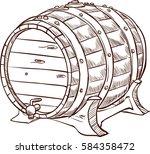 wooden barrel freehand pencil...   Shutterstock .eps vector #584358472