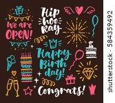 vector hand drawn calligraphic... | Shutterstock .eps vector #584359492