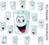 empty cup cartoon with funny... | Shutterstock .eps vector #584366716