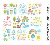 vector set of hand drawn... | Shutterstock .eps vector #584375458