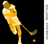 floorball player silhouette... | Shutterstock .eps vector #584377432