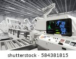 automation industry with 3d... | Shutterstock . vector #584381815