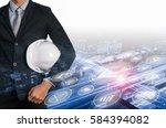 industry 4.0 concept  smart...   Shutterstock . vector #584394082