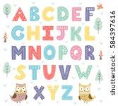 funny forest alphabet for kids. ... | Shutterstock .eps vector #584397616