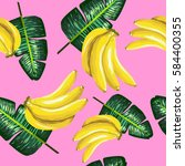 pattern of bananas and green... | Shutterstock .eps vector #584400355