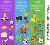 three vertical soccer banners... | Shutterstock .eps vector #584409028