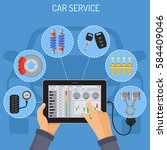 car service and maintenance... | Shutterstock .eps vector #584409046