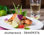 a delicious dish of grilled... | Shutterstock . vector #584409376