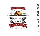 white bulls basketball... | Shutterstock .eps vector #584413882