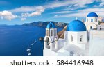 local church with blue cupola... | Shutterstock . vector #584416948