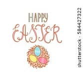 hand drawn happy easter text...   Shutterstock .eps vector #584427322