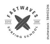 vintage surfing logo  emblem ... | Shutterstock . vector #584431246
