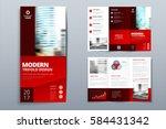 red brochure design. corporate... | Shutterstock .eps vector #584431342