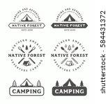 set of vintage camping outdoor...   Shutterstock . vector #584431372