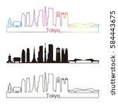 tokyo v3 skyline linear style... | Shutterstock .eps vector #584443675