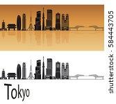 tokyo v3 skyline in orange... | Shutterstock .eps vector #584443705