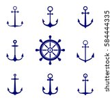 anchor icons. antique and... | Shutterstock .eps vector #584444335