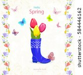 nice spring card with bouquet... | Shutterstock .eps vector #584446162