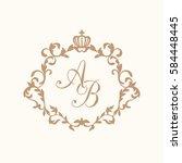 elegant floral monogram design... | Shutterstock .eps vector #584448445