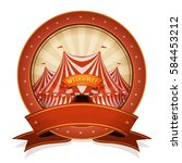 vintage circus badge and ribbon ... | Shutterstock .eps vector #584453212