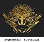 logo design in boho style. tree ... | Shutterstock .eps vector #584468236