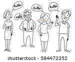 set of happy people standing... | Shutterstock .eps vector #584472352
