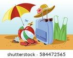 vacations seaside beach set...   Shutterstock .eps vector #584472565