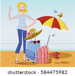 seaside beach girl on vacation...   Shutterstock .eps vector #584475982