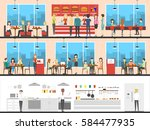 fast food interior set with... | Shutterstock .eps vector #584477935