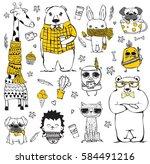 vector set of cute doodle... | Shutterstock .eps vector #584491216