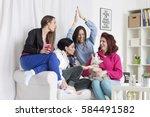 friends having fun in the... | Shutterstock . vector #584491582