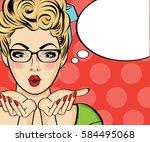 surprised pop art woman . comic ... | Shutterstock .eps vector #584495068